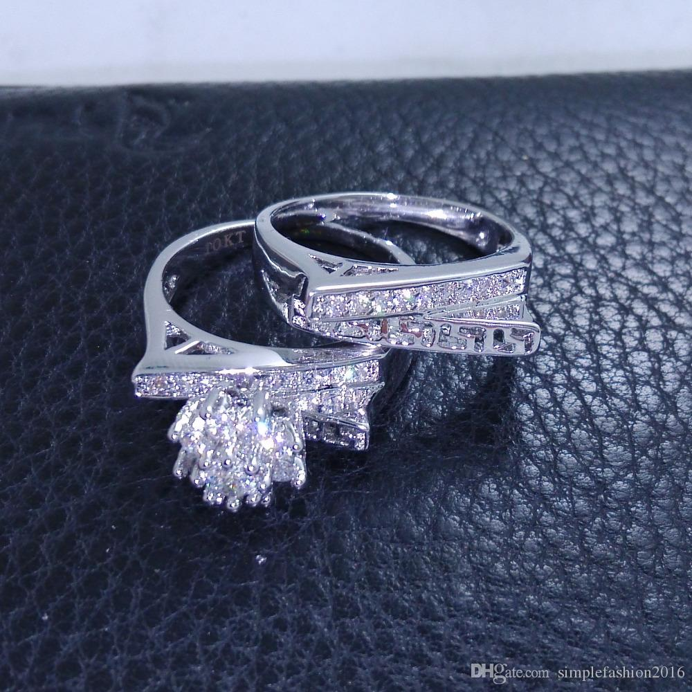 Antique Women Flower Diamonique CZ White Gold Filled Wedding Finger Band Ring