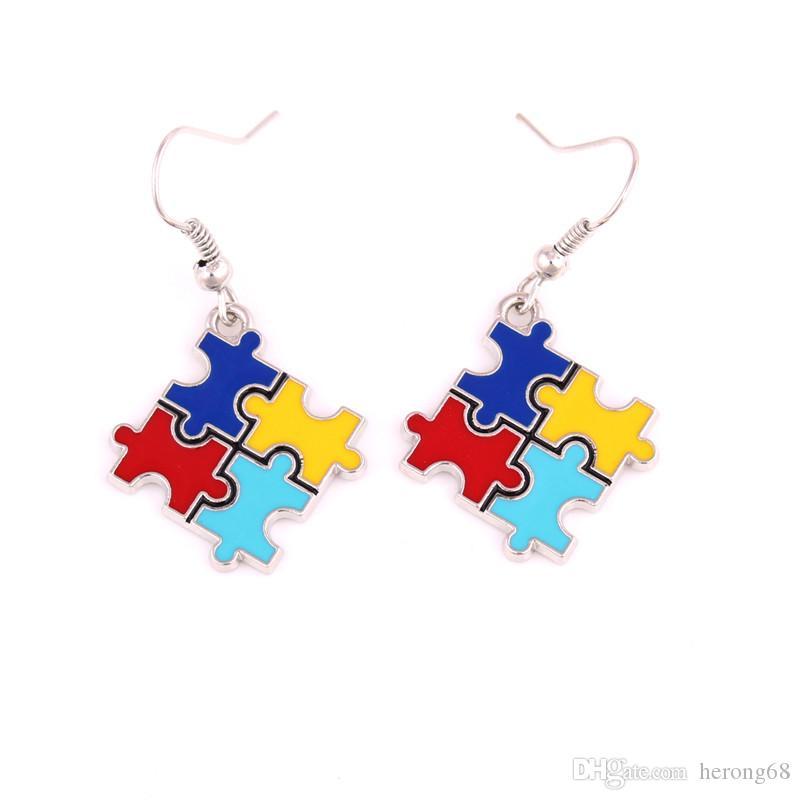 Hot Sale Autism Style Earrings For Women Jigsaw Puzzle Pattern Beautiful Enamel Jewelry Zinc Alloy Provide Dropshipping
