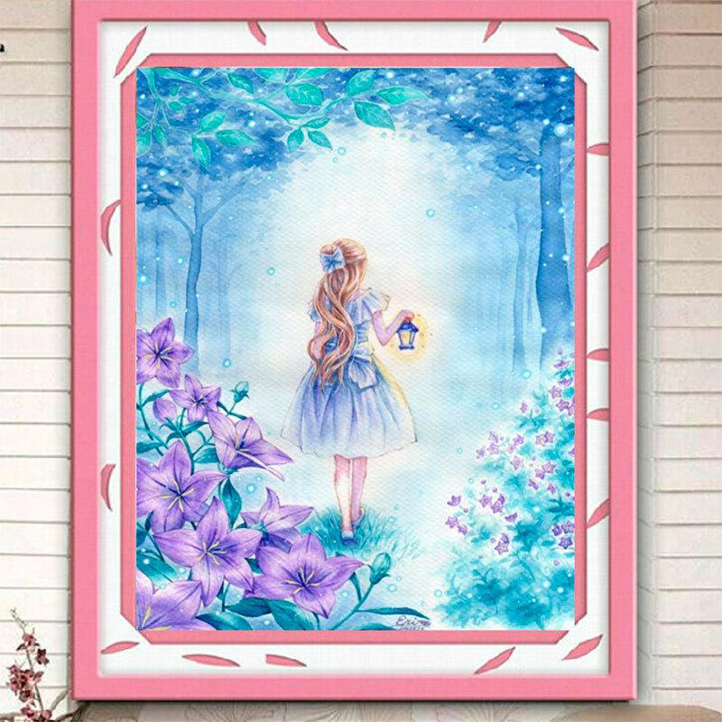 New Pattern 5D Diamonds Painted Diamonds Embroidery Cartoon Girl Full Stick Drill Cross Embroidery Figure Scenery Living Room Bedroom Pain