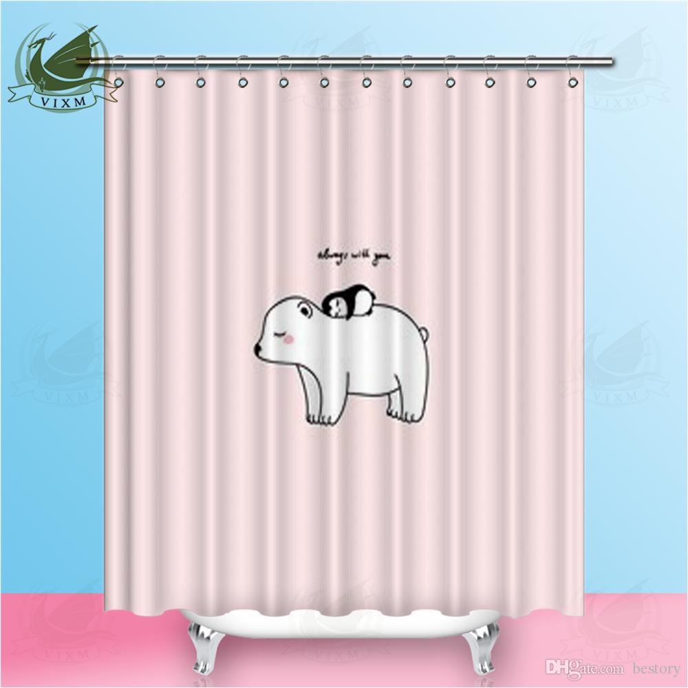 Vixm A Little Penguin Pink Background Polar Bear Art Poster Shower Curtains Polyester Fabric Curtains For Home Decor