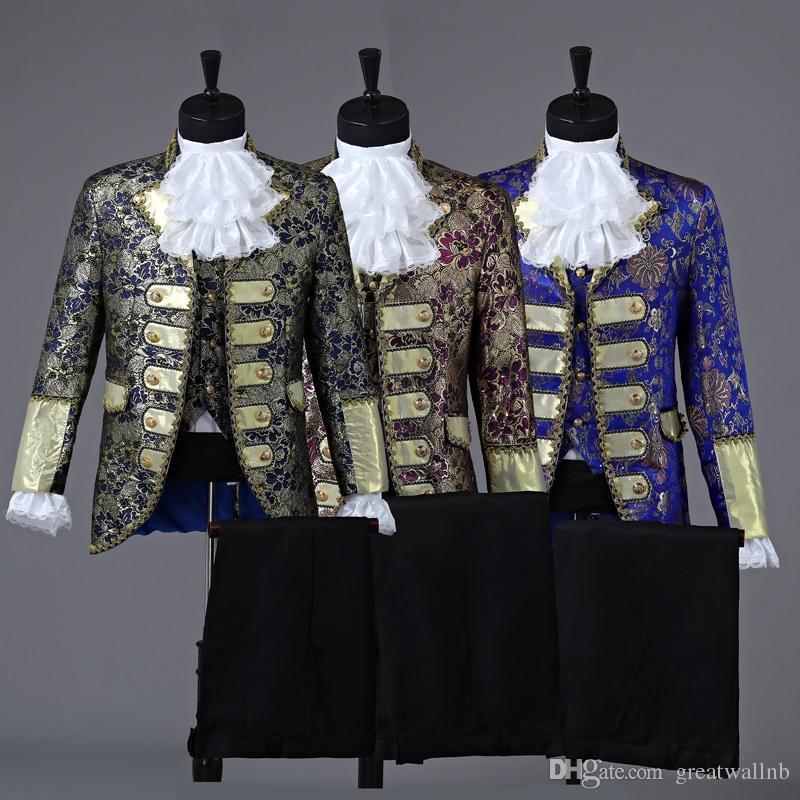 prince royal drei farbe herren zeit kostüm mittelalterlichen anzug bühnenperformance / prinz charmante fee william / bürgerkrieg / kolonial belle bühne