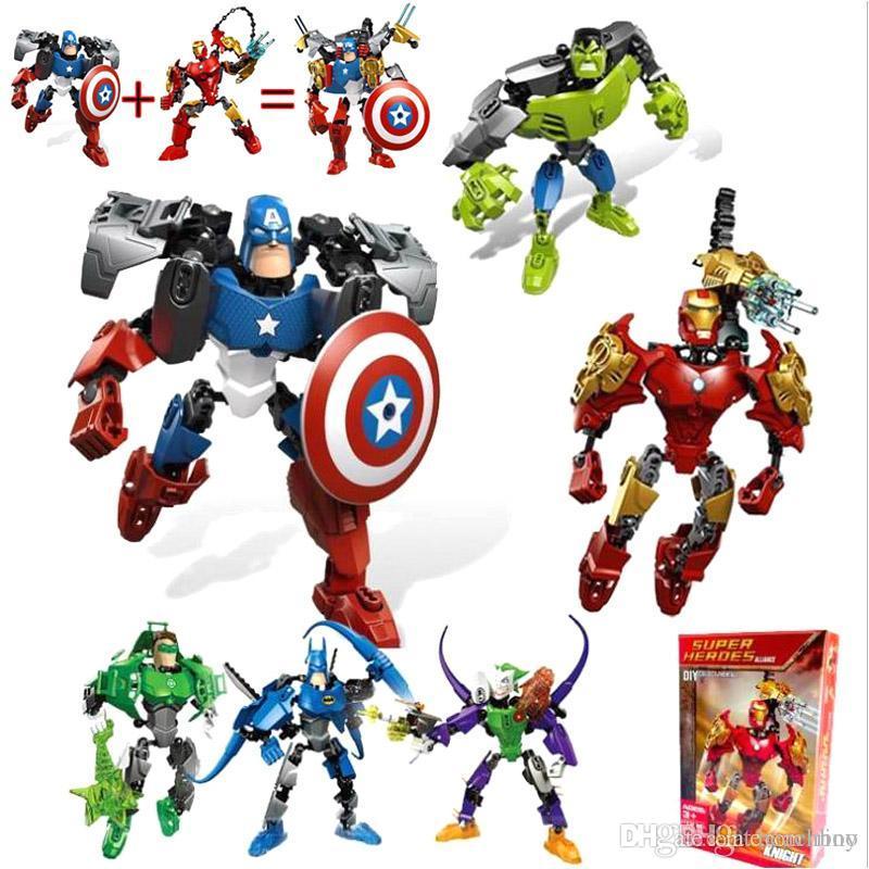 Marvel building blocks 20cm Avenger Figures Toys Batman Hulk Spiderman Iron man Captain America Superman Puzzle Blocks Toys