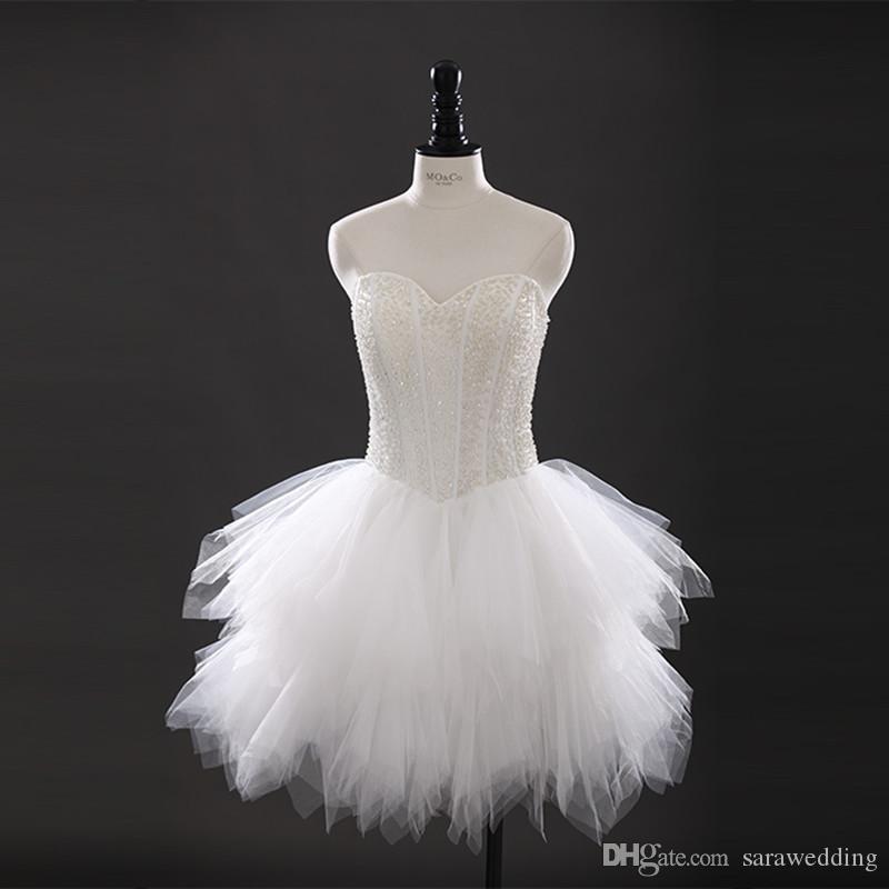 Vestido de boda corto de tul con cuentas Vestido de fiesta hasta la rodilla Vestidos de novia de la playa Nuevo vestido de novia de la longitud de la rodilla