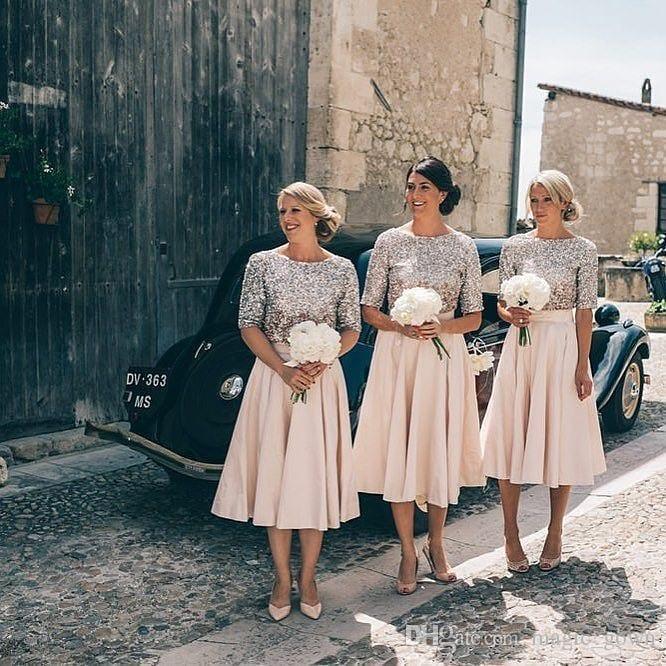 Nueva llegada con lentejuelas 2018 una línea vestidos de dama de honor joya cuello boda dama de honor vestido plisados vestidos de fiesta vestidos de fiesta