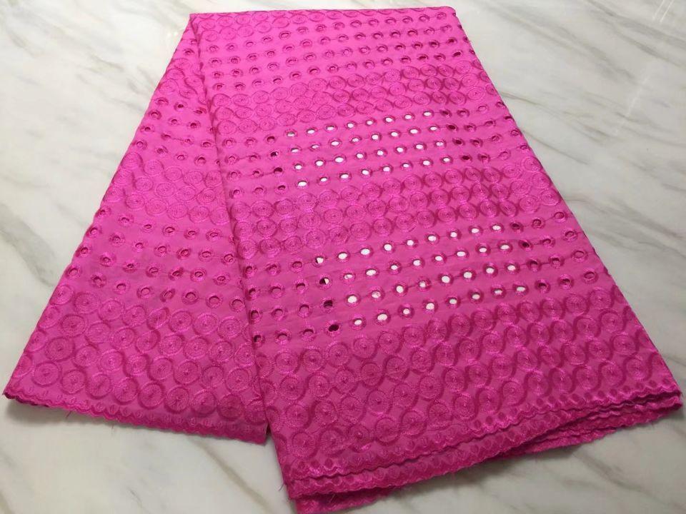5 yardas / pc Más popular tela de algodón africano fucsia bordado cordón suizo para la ropa de fiesta BC24-8