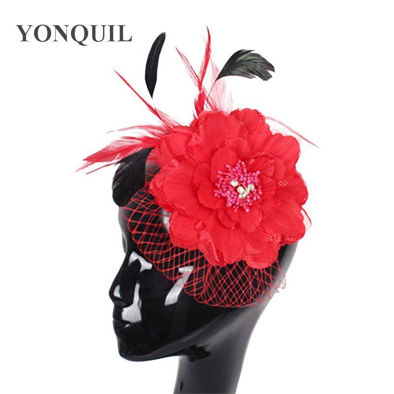 dei capelli di trasporto molti colori di alta qualità cappelli fiore di seta di fascinator / sposa accessori Grande come cappelli di partito / cappelli da sposa FS60