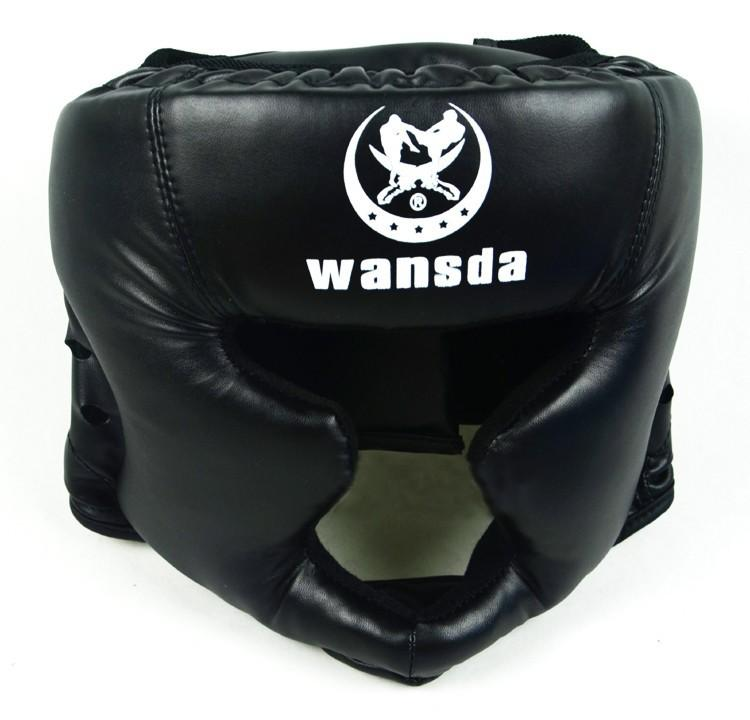 Good Black Boxing Training Sanda Protective Gear Helmet Enclosed Helmet Mma Muay Thai Fighting Protective Gear Guard Head