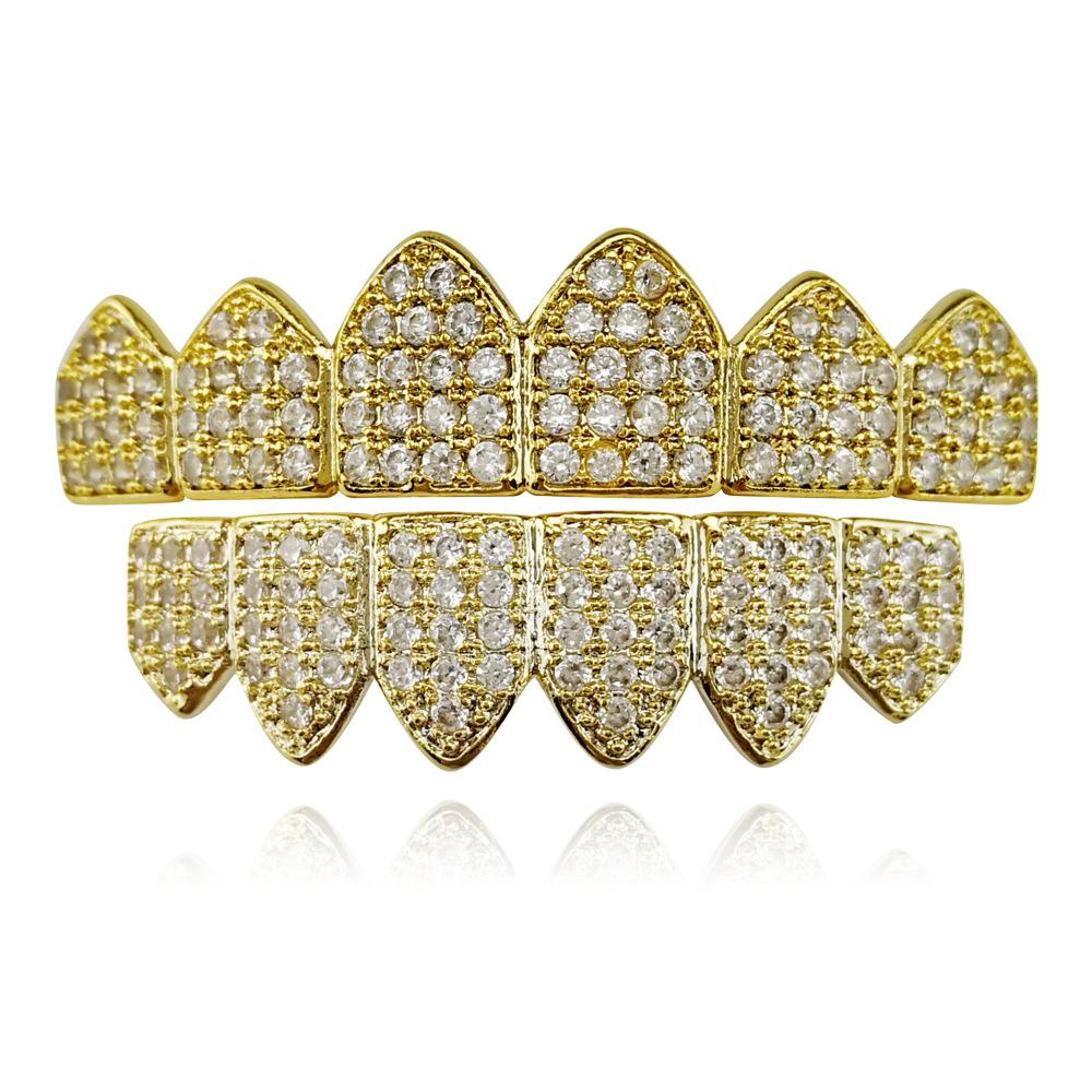 Top selling hot new model gold Grillz diamond crystal hip-hop rap fashion body jewelry teeth tooth hip-hop Dental Grills free shipping