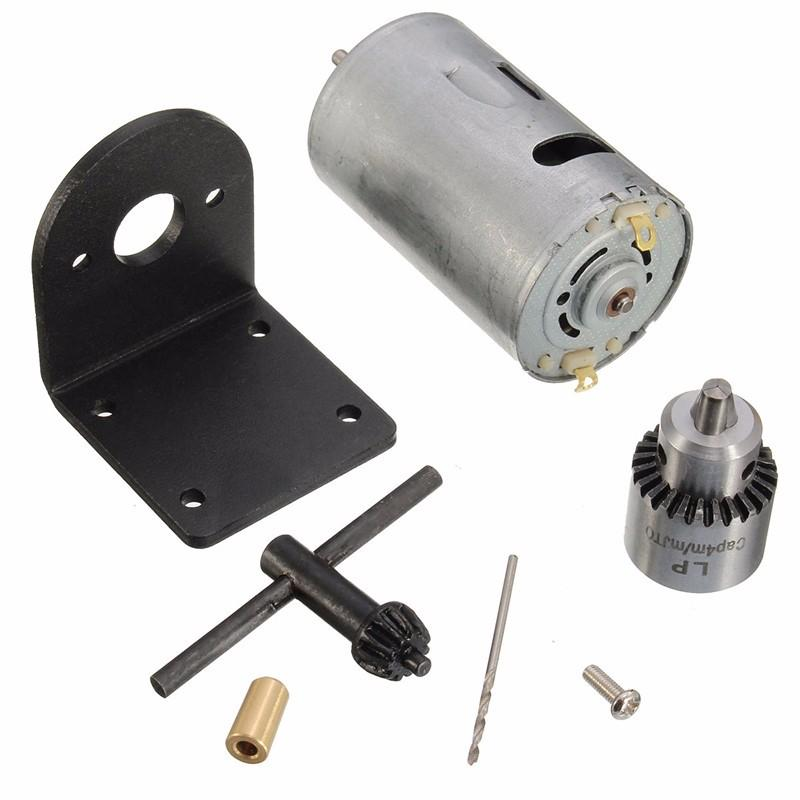 Freeshipping New 1pc 12-24V Mini Hand Drill DIY Lathe Press 555 Motor Drill Chuck+Mounting Bracket Mount For Motor approx 21mm*37mm