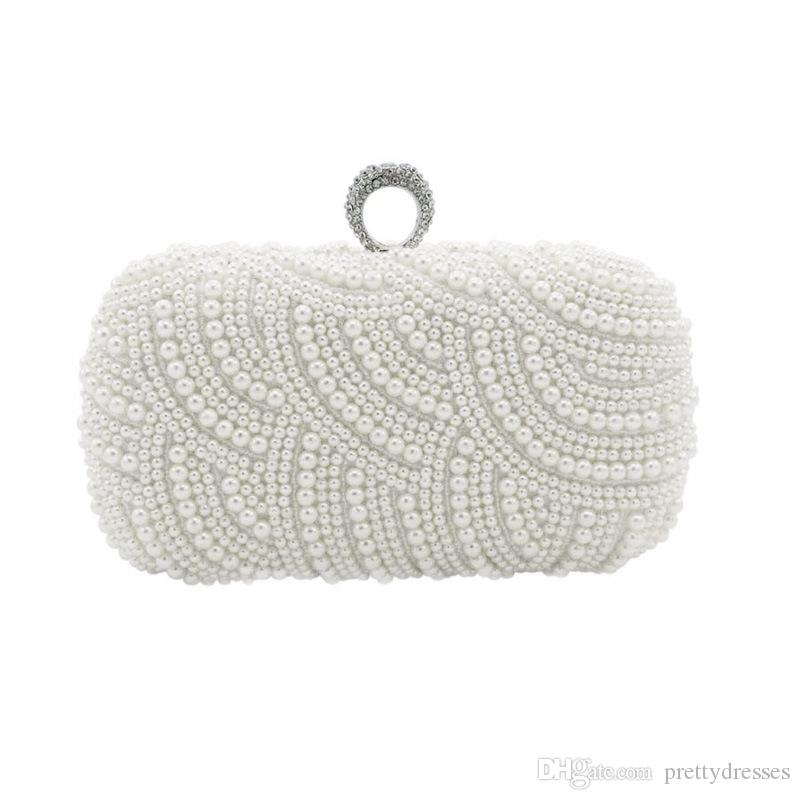 Elegant Full Pearls Crystal Beaded Double Bridal Wedding Hand Bags Evening Party One Shoulder Small Clutch Dinner Bags Ring Bag For Ladies