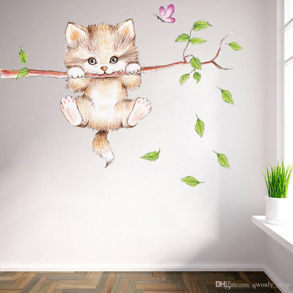 2018 New Cats Tree Branch Butterfly Switch Wall Sticker Bedroom Living Room  Decoration Animal Art Sticker Wall Decals Art Poster Quotes Wall Stickers  ...
