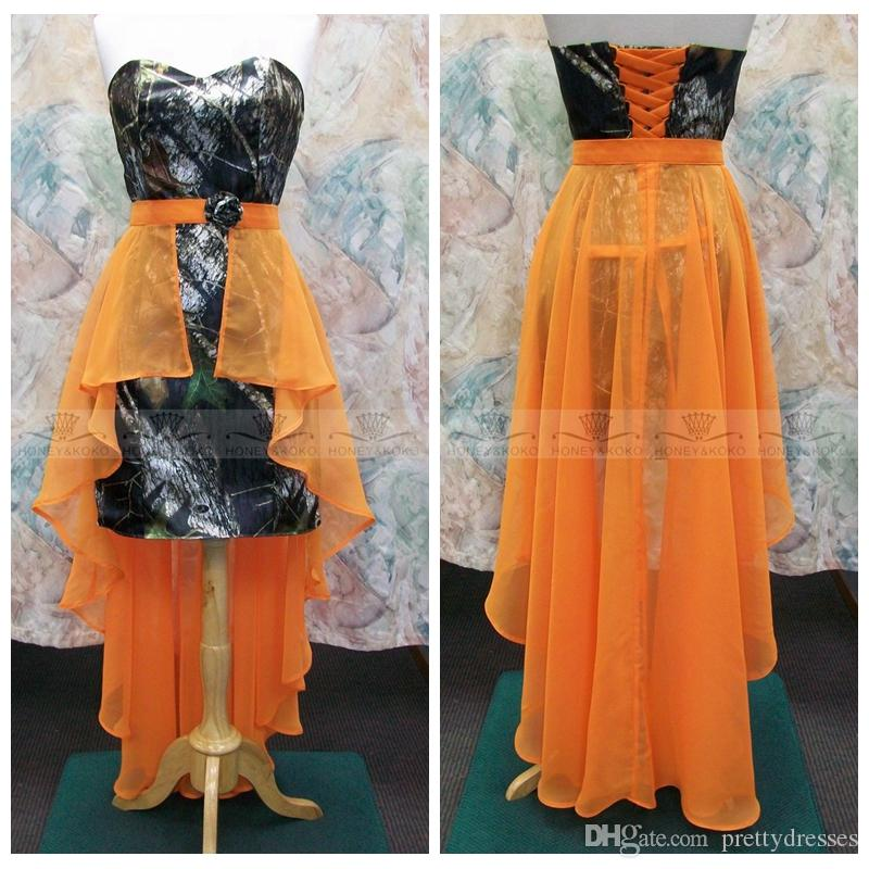 Sweetheart Camo Sheath Bridesmaids Dresses With Orange Chiffon Handmade Flower Adorned Waist Honor Of Maid Cheap Lace Up Back Custom Formal