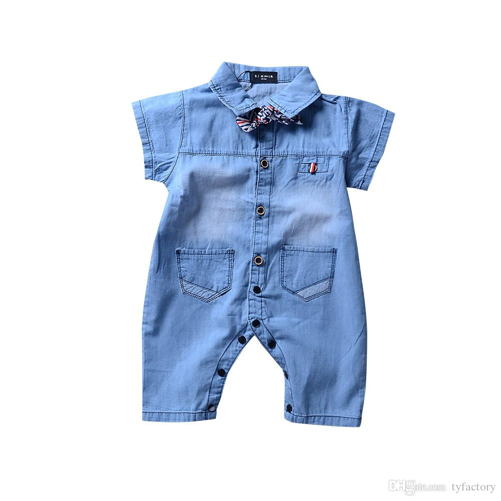 Lovely Summer Denim Baby Boy Clothes Romper Jumpsuit Onesies Boys Clothing One-piece Outfit Boutique Newborn Babies Bodysuit Rompers 0-24M