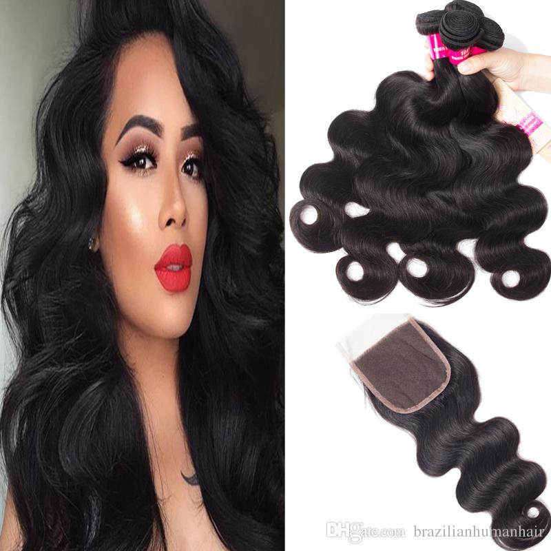 Бразильские человеческие 3 пакета девственные волосы плетения для волос тел волна прямая свободная волна kinky вьющиеся глубокая волна с 4x4 кружевной замыкание уцинков волос