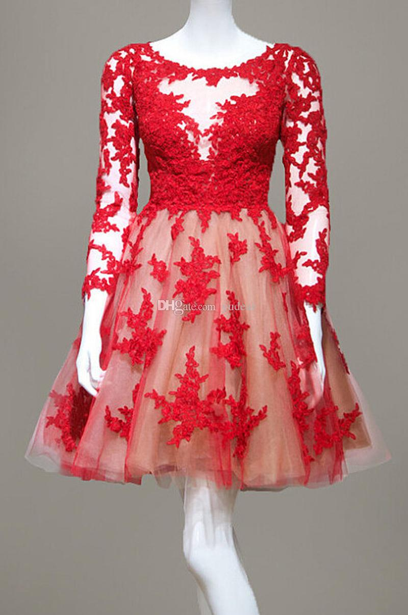 Scoop Sheer Neck 2019 Hot Women Short Evening Dresses A-line Red Appliques Long Sleeves Illusion Gala Host Dresses Maid of Honor Bridal Gown