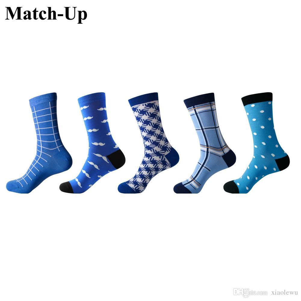 Calcetines de algodón peinados coloridos divertidos de los hombres Docena serie de estilo azulInformal (5 pares / lote) US 7.5-12