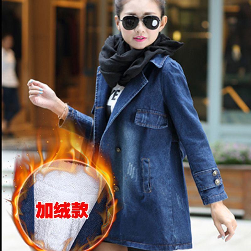 S-4XL Spring Autumn Winter Women Lambswool Long Jean Coat Double Breasted Long Sleeves Warm Jeans Coat Outwear Wide Denim Jacket