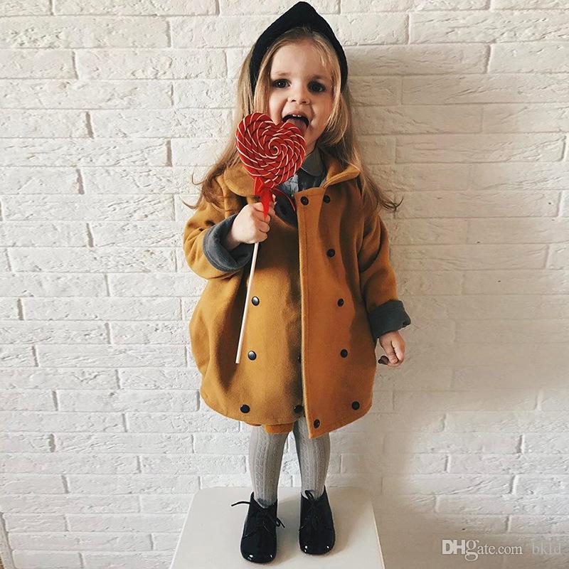 Детская одежда для девочек Детская осенняя куртка Детское пальто для девочек Одежда отложным воротником двубортный 2018 Новая мода для девочек Пальто