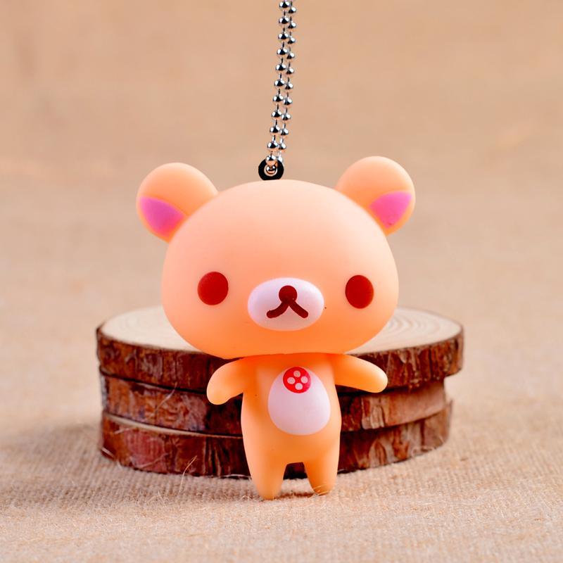 Squishies Rilakkuma Key Chains Brown Pink Bear Key Rings Head Rotate Bear Keyrings Mobile Phone Straps Rilakkuma Pendants
