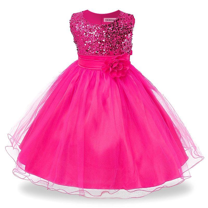 Compre 2018 Meninas Vestidos Para O Aniversário Do Bebê Menina 3 10 Anos De Roupas De Natal Crianças Meninas Lantejoulas Princesa Roupas De Festa