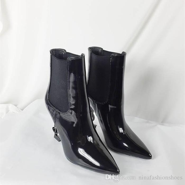 Black Patent Leather Letter High Heels