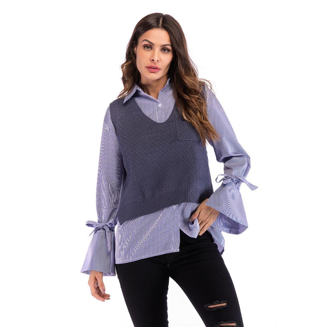 2018 Automne Nouveau Femmes Gilet tricot Femme Pull fendus fourche Gilets desserrées