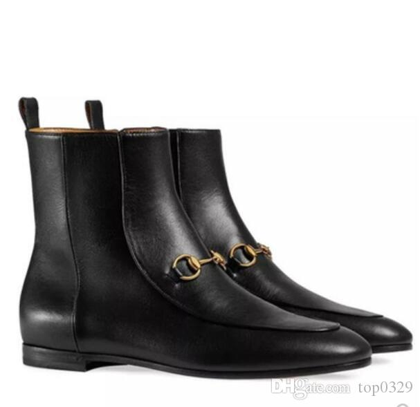 Women boots Boutique luxury original fashion brand Metal buckle lambskin Genuine Leather Classic sexy Ladies British ankle Martin boots