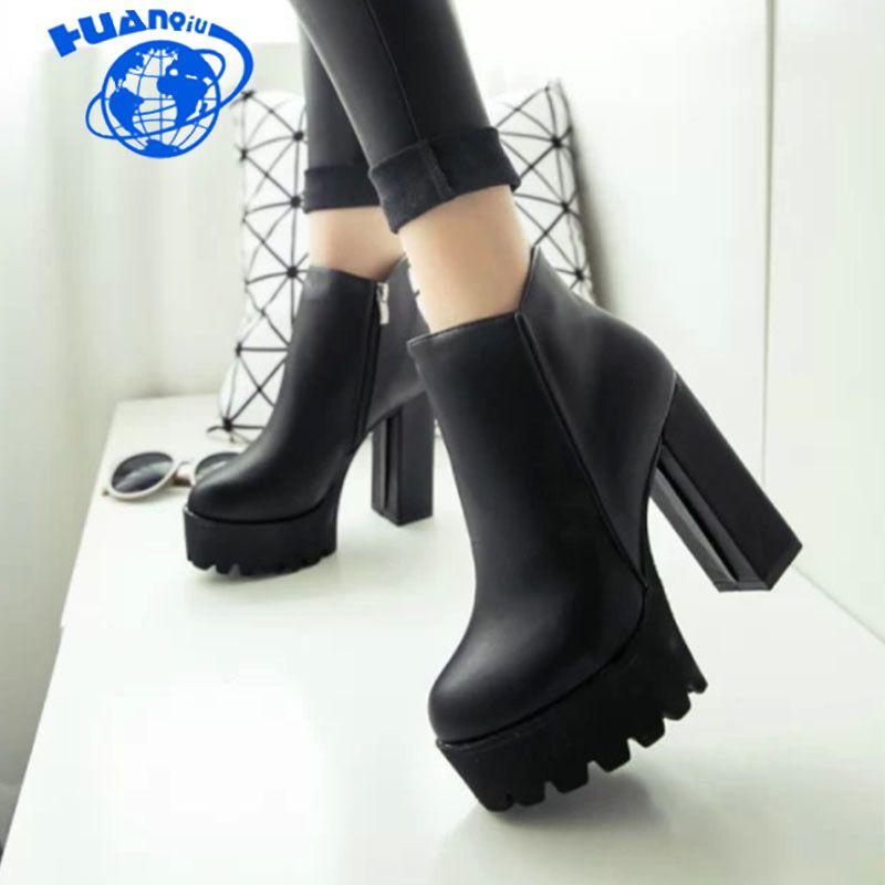 en venta c6c26 60677 Compre HUANQIU Moda Negro Botines Para Mujer Tacones Gruesos 2018 Nuevos  Zapatos De Plataforma Tacones Altos Negro Cremallera Señoras Botas ZLL107 A  ...