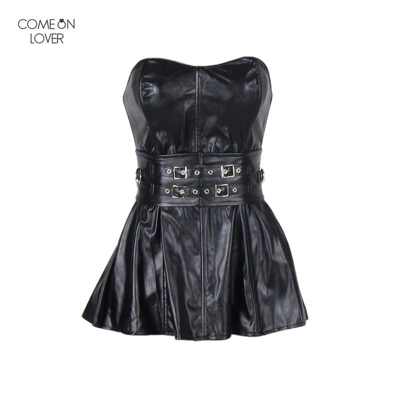 Comeonlover Gothic Faux Leather Corset Dress Black Sexy Corset Lingerie Costume Steampunk Lace Shaper Party Bustiers AT9003