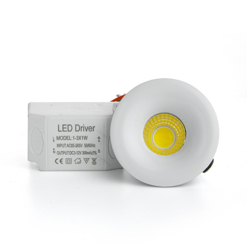 RAYWAY 10PCS/Lot Dimmable LED Downlight Mini 3W Recessed COB Down Light AC85-265V LED Ceiling Lamp White/Warm Wardrobe Light