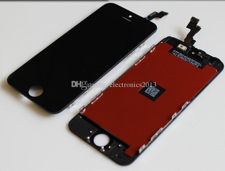 LCD Ekran Dokunmatik Digitizer Komple Ekran Panelleri W / Çerçeve Tam Meclisi Yedek iPhone 4 4 S 5 S 5C 5G Artı Cep Telefonu Piksel