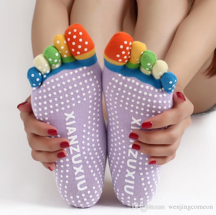 Calzini per le dita delle donne Yoga Fitness Danza Sport esercizio completo Five dita calzini antiscivolo punti massaggio calzini fitness 8 colori calzini per bambini