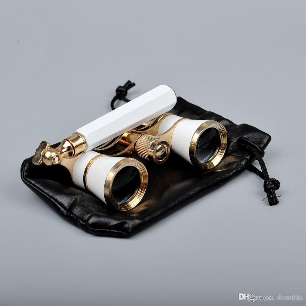 Opera Theater Glasses 3x25 Brass Coated Lens Binocular Telescope White/Red/Black Color with Handle Glasses
