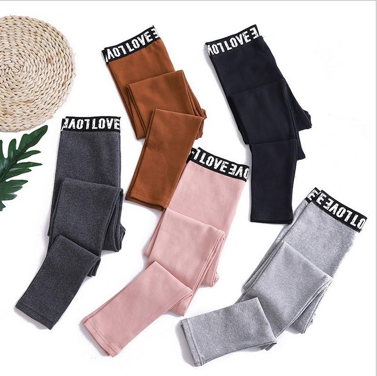 Woman Fashion Autumn and Winter Warm Sexy Color capris 100% cotton Show Thin Tights High Elastic Warm Leggings Ninth pants Alphabet belt