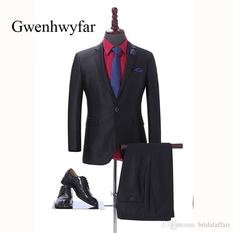 Yakışıklı Bir Düğme Kraliyet Siyah Damat smokin Tepe Yaka Groomsmen Erkekler Wedding Smokin Akşam Balo takımları (Ceket + Pantolon)