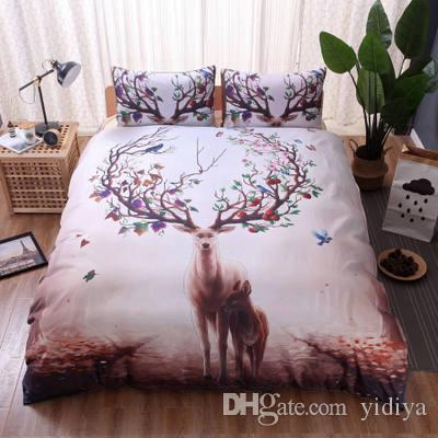 Free Shipping Deer Forest Printed Duvet Cover Set Single Double Queen King 2/3pcs Bedclothes Bed Linen Animal Bedding Sets
