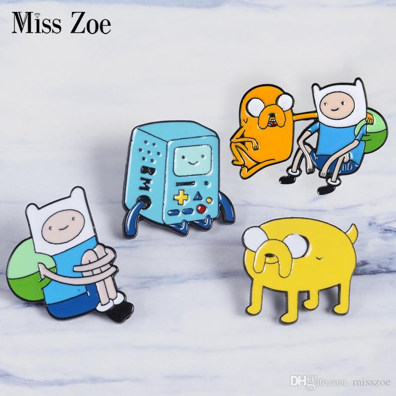 미스 조이 모험 시간 에나멜 핀 핀 및 제이크 브로치 가방 옷 옷깃 핀 버튼 배지 만화 보석 선물 친구를위한 아이들