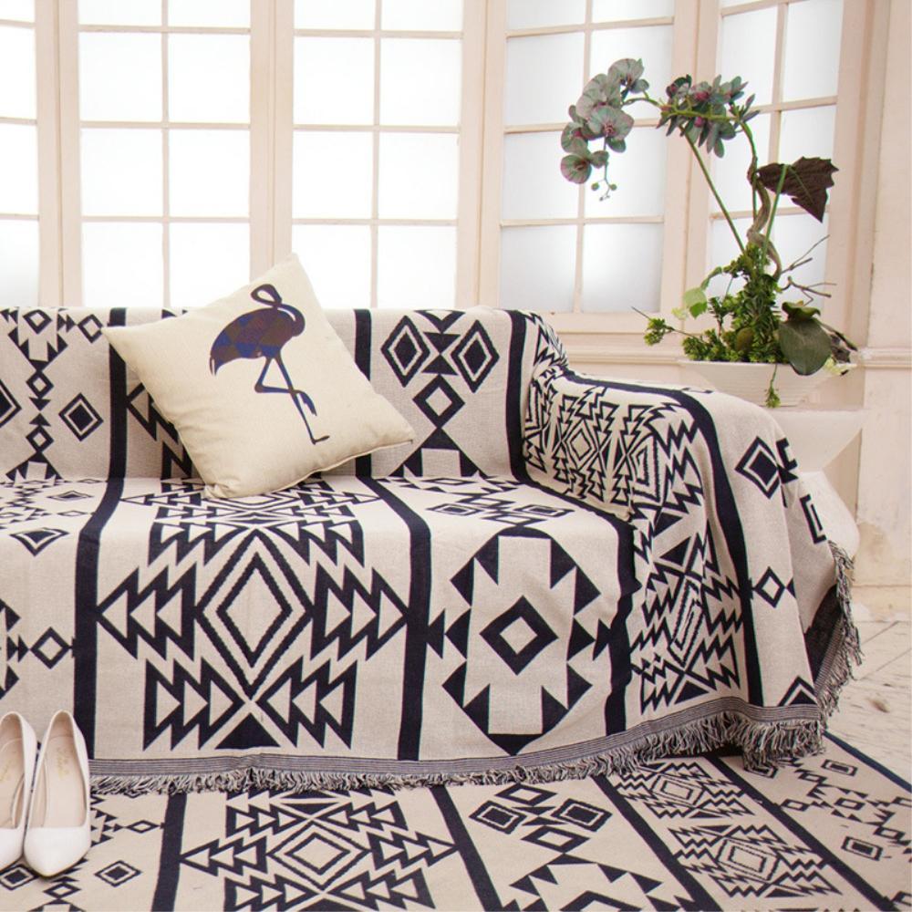 Farklı Yan% 100% Pamuk Tığ Iplik Battaniye Atmak Çift Yüzlü Kanepe Sandalye Yatak Örtüsü Goblen Halılar Havlu