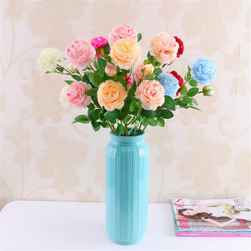 65 cm de largo Artificial 3 Cabezas de Flores de Rose Rama de Seda Occidental Flor de Peonía Para La Boda de San Valentín Decoración de La Fiesta de Cumpleaños Guirnaldas