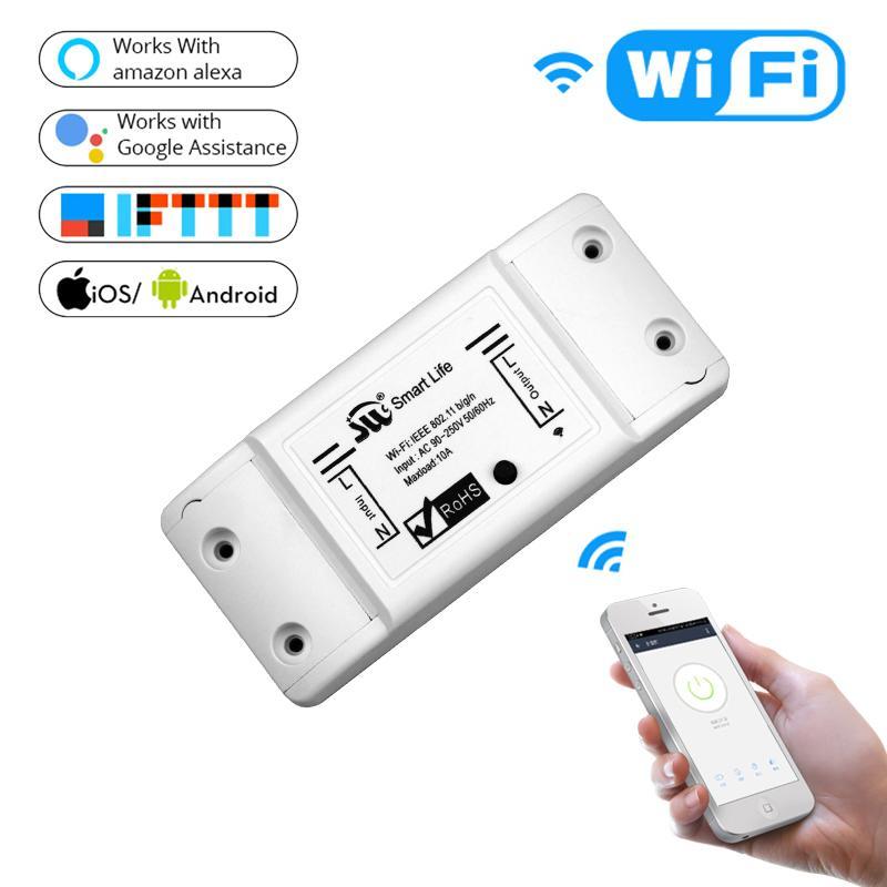 10A Wireless interruttore della luce modulo universale DIY WIFI telecomando interruttore compatibile con Alexa /& Google Home Assistant