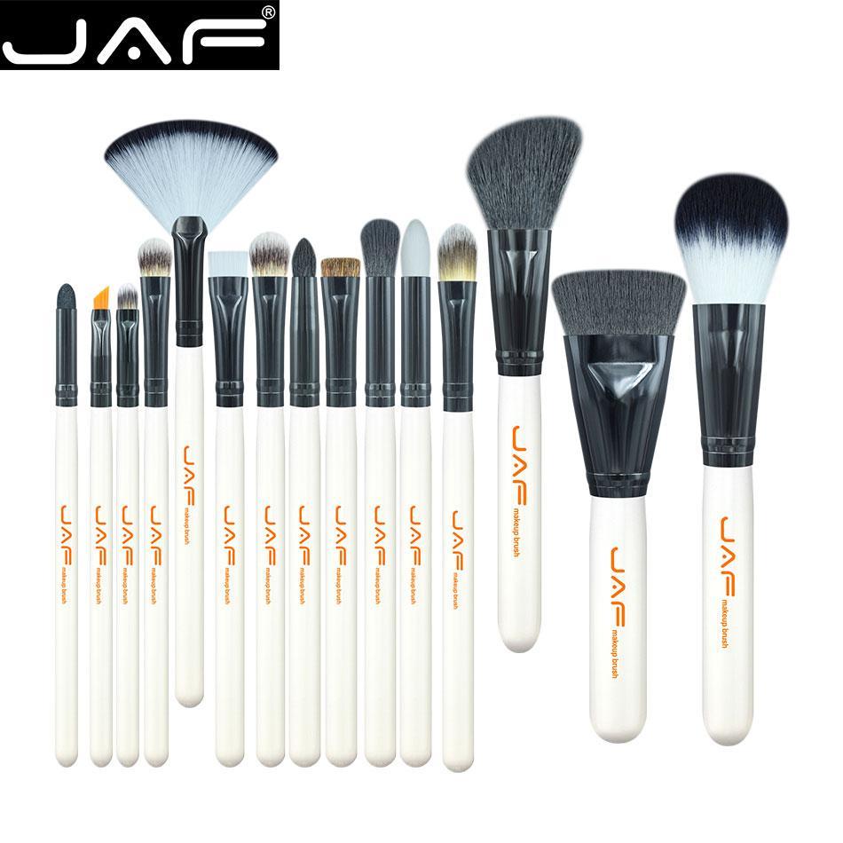 JAF 15-piece Makeup Brush Kit Animal Hair Syntehtic Hair White Handle Conveniently Portable Lip Make Up Brush Set J1503M-W