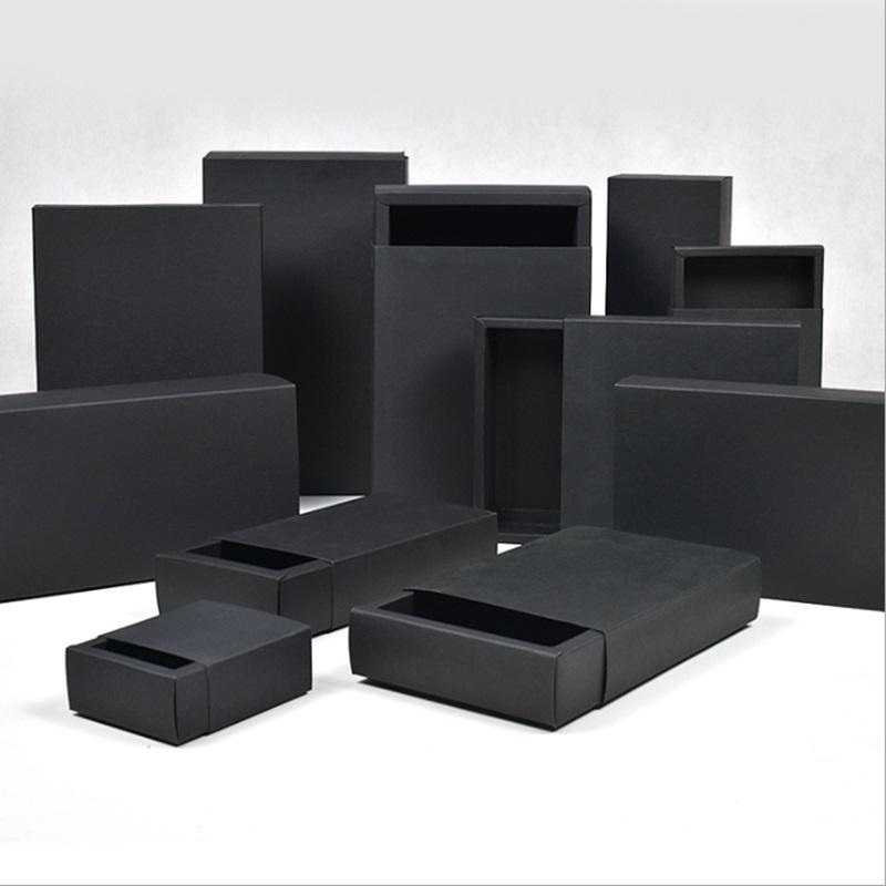 Various sizes Black Cardboard box Paper Drawer boxes Wedding Black Gift Packing Paper Box For Jewelry/Soap/Scarf/Candy/Perfume
