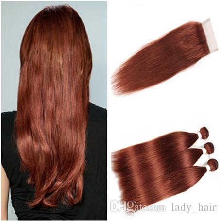 # 33 붉은 갈색 브라질 버진 사람의 머리카락은 폐쇄 4 개를 엮어 낸다. 롯데 바디 웨이브 다크 오번 4x4 레이스 3 개 묶음