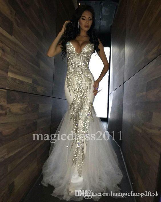 Sexy Prom Dresses sera bianca 2019 Mermaid Sweetheart Major Beaded Bare Back morbido Tulle abito lungo abito formale celebrità per il partito