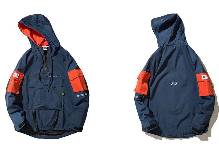 Половина молнии пуловеры куртка мужчины новый 2018 осень хип-хоп куртка с капюшоном передний карман повседневная ветровка балахон уличная одежда Harajuku