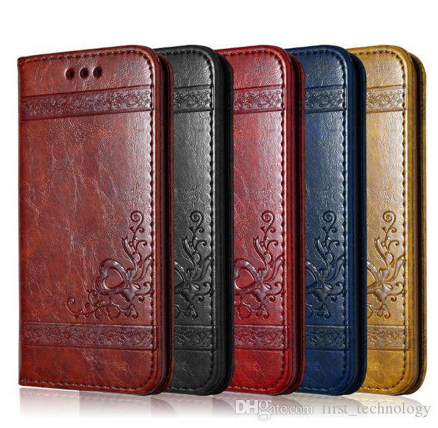 Leather Flip Phone Case For iPhone X 6 6S 7 8 Plus For Samsung S7 Edge S8 Plus Retro Card Slot Phone Cover