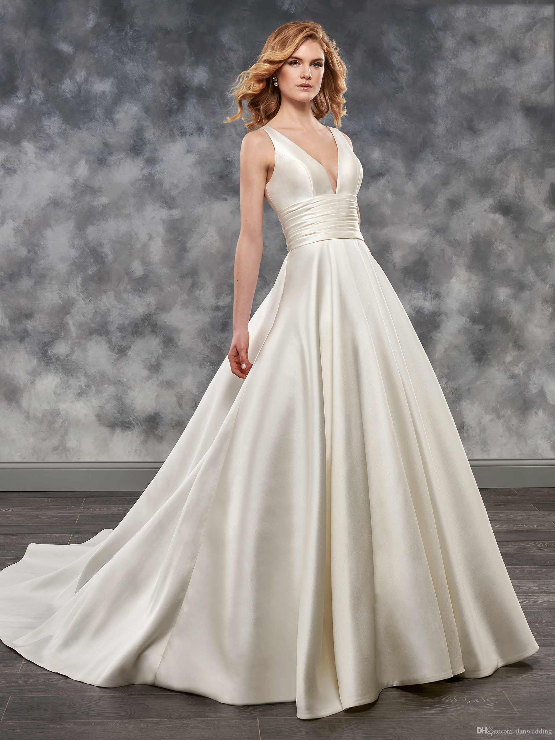 Grace Ivoire Satin Col V-Col V - Robes de mariée A-Line Robes de mariée Robes de mariage Robes de mariage Taille personnalisée 2-16 kf1014132