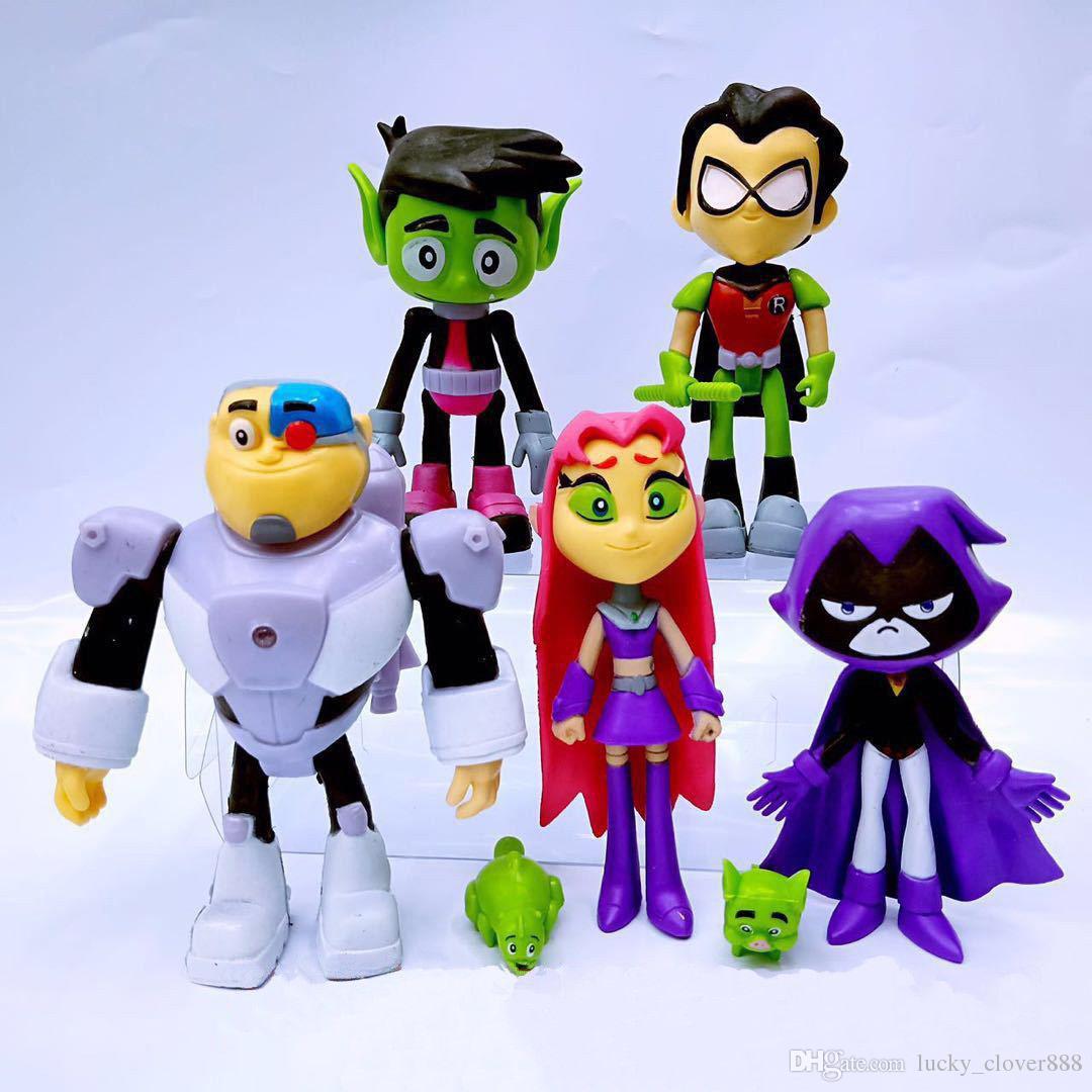 SET 6 FIGURE STATUETTE Raven Starfire Robin Beast Boy Cyborg TEEN TITANS GO