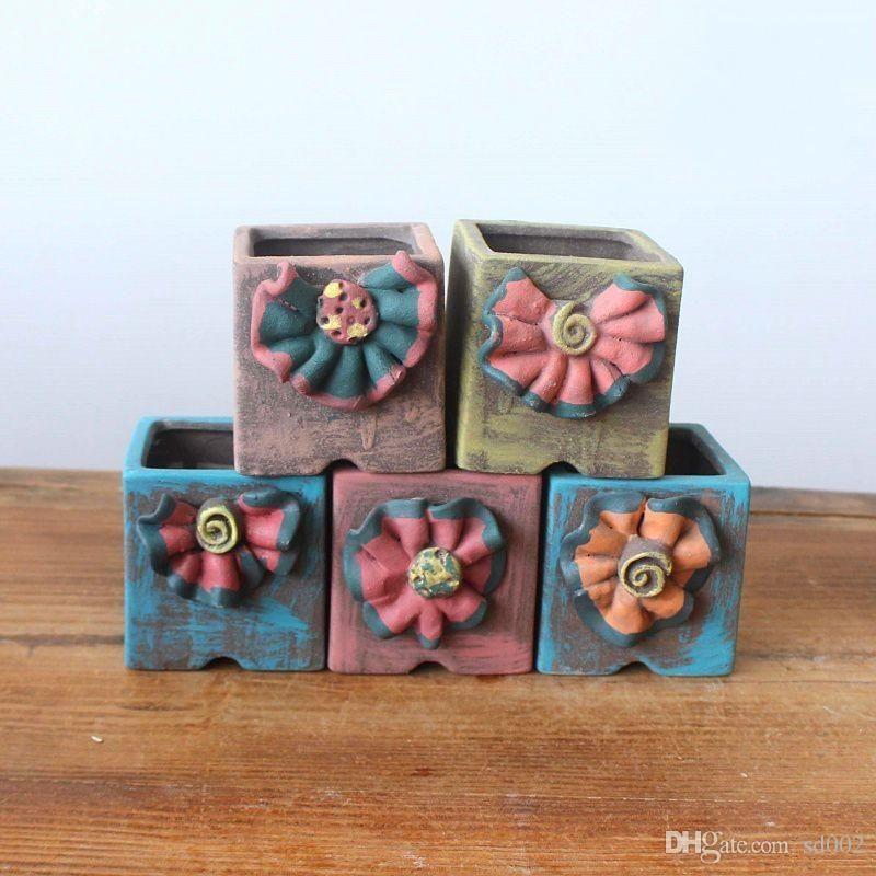 Керамика мясистости горшок портативный винтажный стиль цветок горшки мода настольных горшечные сада, растения для дома украшения 6 3yh ЗЗ