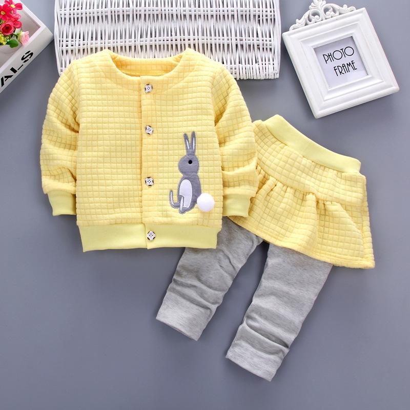 2pcs del bambino neonate vestiti Coniglio manica lunga Coat + falsi pantaloni abbigliamento casual abbigliamento dei bambini di autunno abbigliamento 1-4years